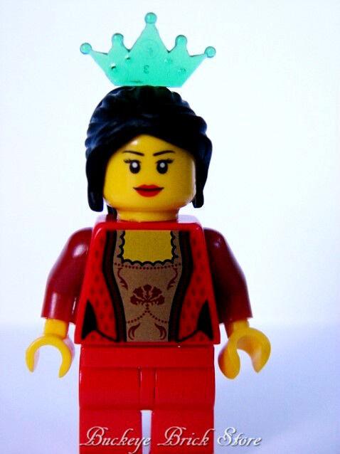Nuevas Lego Minifig Reinos Reina con   Largo black Coleta & Cgoldna Minifigura