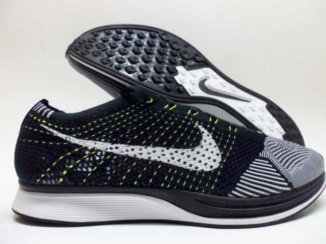 Mens 9 Womens 10.5 Nike Flyknit Racer Shoes White Black Volt 526628 ... 790a8a192