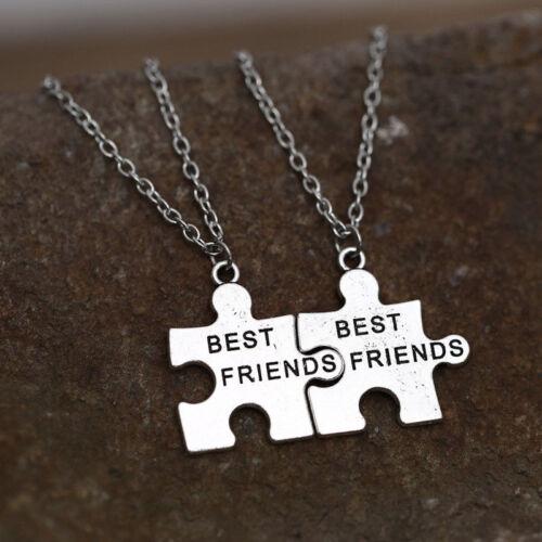2X Best Friend Silver Necklace Chain Pendant Friendship Women Men Jewellery Gift