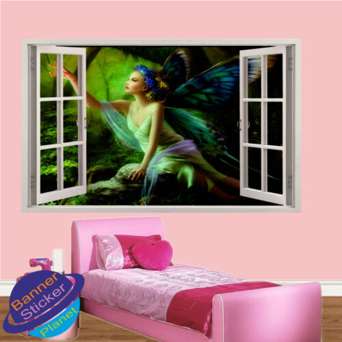 BUTTERFLY FAIRY IN FOREST 3D WINDOW WALL STICKER ROOM DECORATION DECAL MURAL