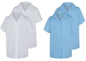 GIRLS SCHOOL SHIRTS 2 PACK REVERE COLLAR BLOUSES EX UK STORE UNIFORM 4-16Y NEW