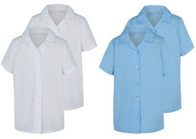 Bnwt Girls Back To School 2 White Short Sleeved Shirts Blouses 5-6  Years New