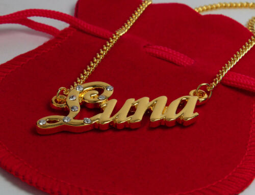 18K Gold PlatedWedding Bridesmaid Custom Made Pendant Name Necklace Luna