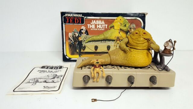 STAR WARS JABBA THE HUTT Vintage Action Figure Playset ROTJ COMPLETE w/BOX 1983