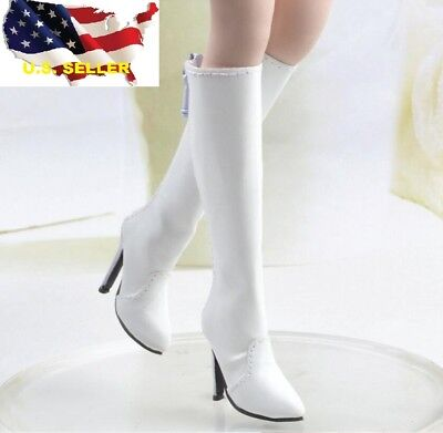 1//6 woman classic leather white boots for phicen hot toys verycool kumik ❶USA❶