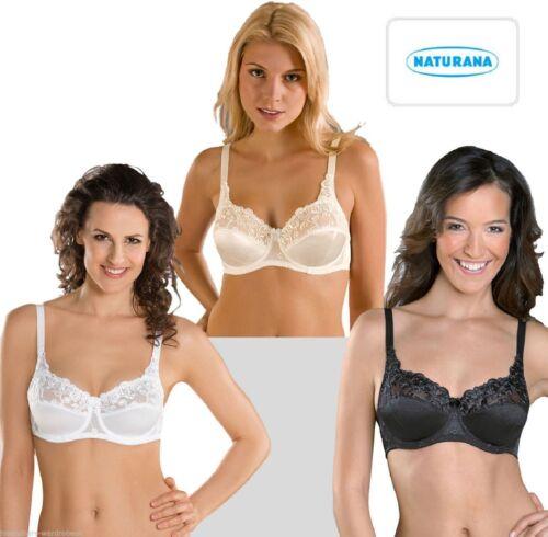 Ladies Womens Under Wired Satin Bra Firm Control By Naturana Size 34-46 B-DD NEW