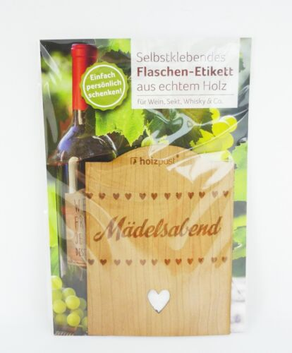 Selbstklebendes Flaschen-Etikett aus echtem Holz Mädelsabend