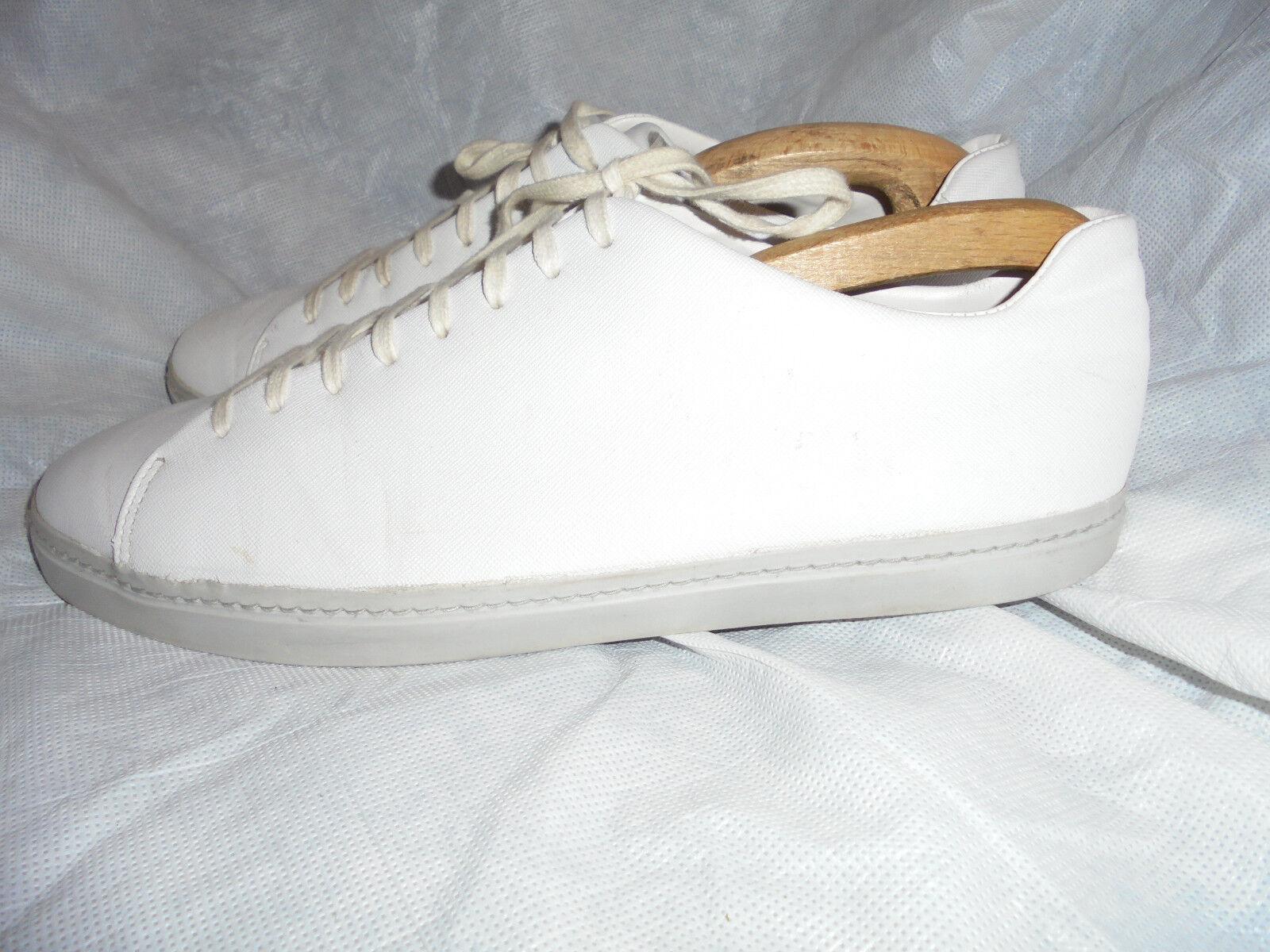 ZARA MAN Uomo Bianco Pelle Stringati scarpe da ginnastica taglia EU 44 in buonissima condizione