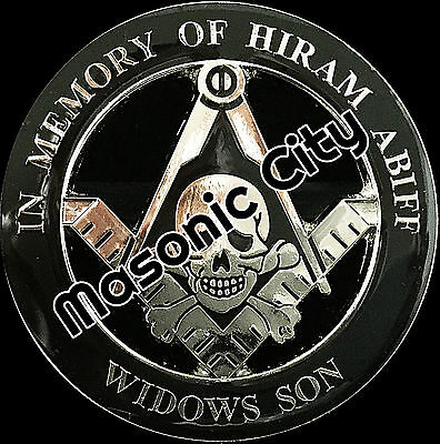 Z-168 Silver/Black In Memory of HIRAM ABIFF Widows Son Black Masonic Auto Emblem