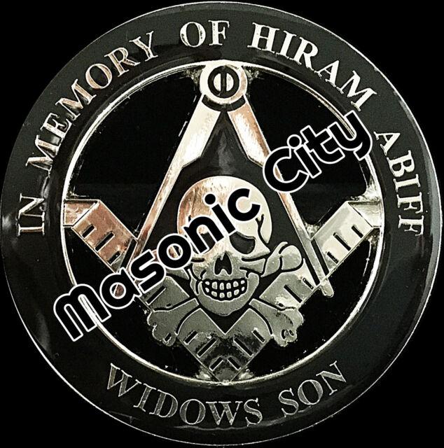 Z-168 Silver/Black In Memory of HIRAM ABIFF Widows Son Black Masonic Auto Emblem