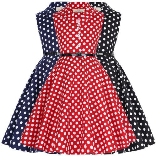 Children Kids Girls Princess Retro Vintage 50s Lapel Swing Party Polka Dot Dress