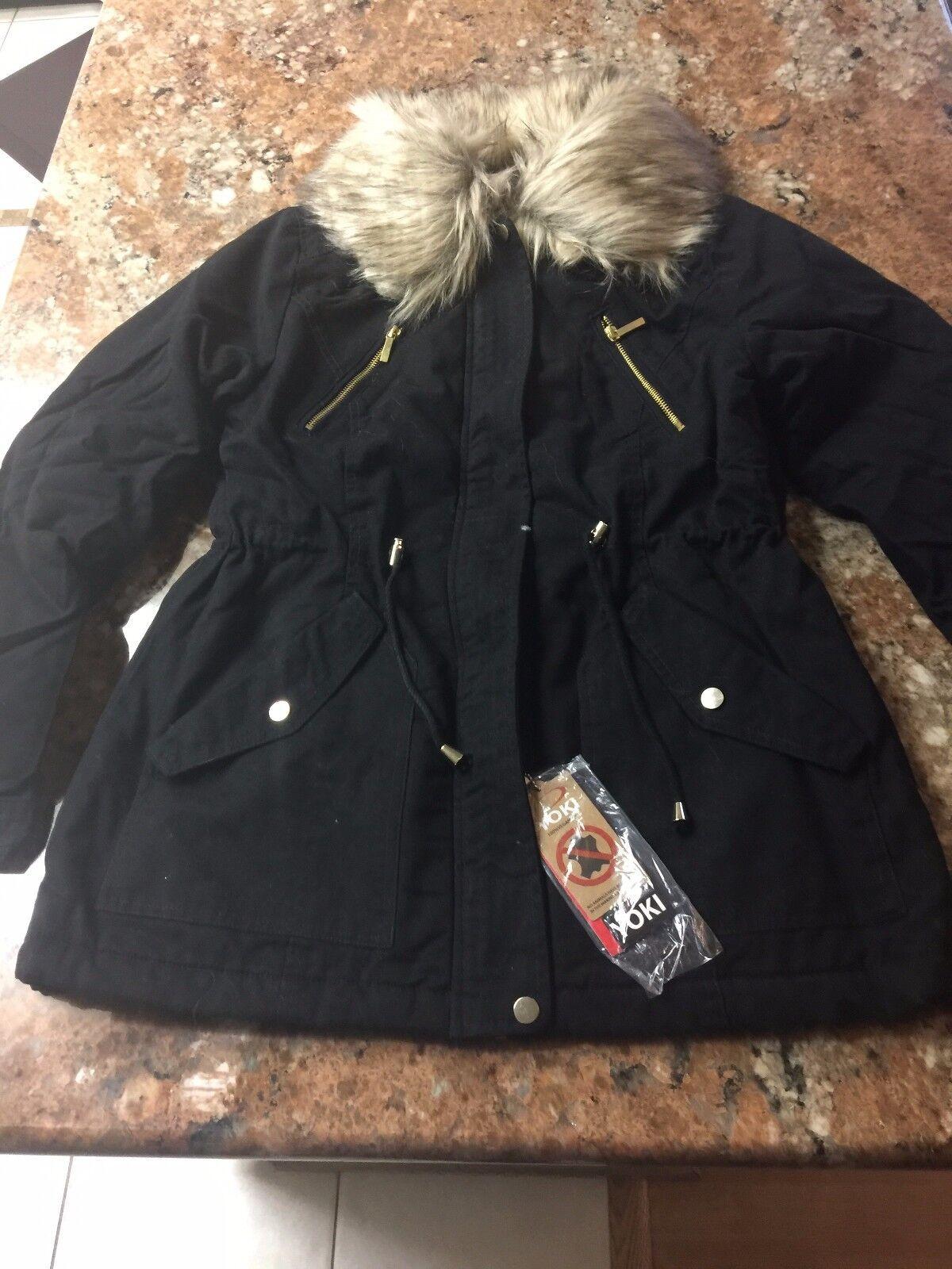 Yoki Coat Drawstring Slim Faux Fur Collar Cotton Shell LINED Parka Size M