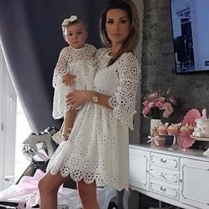 c82c240b48cb7 Details about Mother and Daughter Casual Lace Crochet Dress Women Kids  Girls Matching Clothes