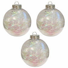 DAVIES PRODUCTS CLEAR FEATHER BAUBLE 8CM