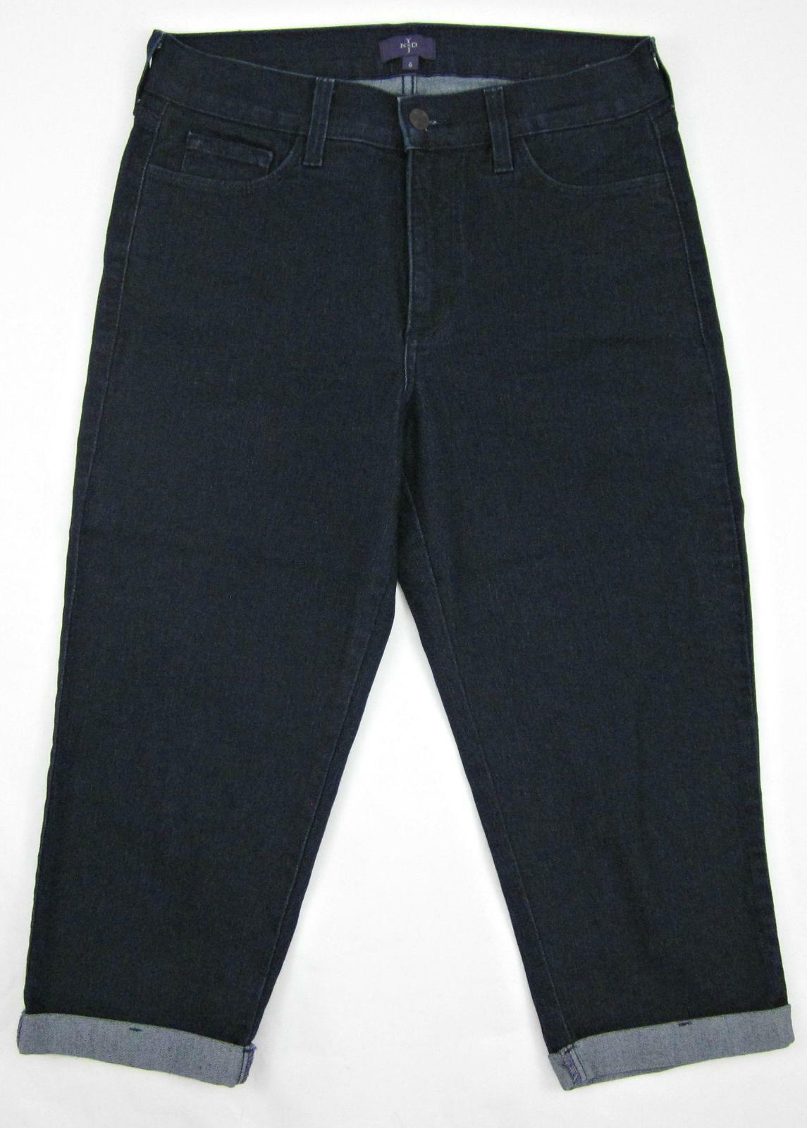 NYDJ Not Your Daughter's Jeans Crop Capri Cuffed Sz 6 Dark Denim  MINT