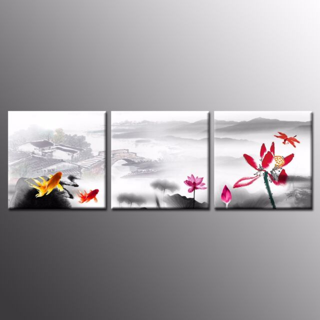 Framed canvas prints poster lotus flower paintings wall art for home decor 3pcs