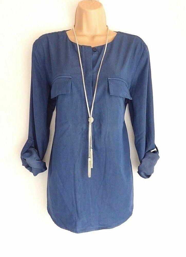 Nouveau Femme S. Oliver Long à Manches Roulées En Viscose Bleu Chemisier Shirt Top Tunique Xl AgréAble à GoûTer