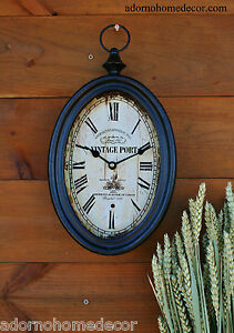 Image Is Loading Small Oval Metal Wall Clock Vintage Port Antique