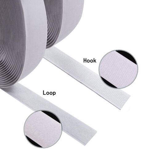1 Inch Self Adhesive Hook and Loop 3Y//5Y//7.5Y//10Y Set White Sticky Back Tape