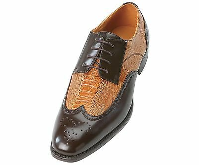 Bolano Mens Exotic Perforated Cognac Brown Lace Up Wing Tip Oxford Dress Shoes