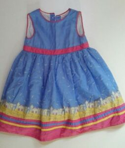 Jojo-Maman-Bebe-Girls-Party-Dress-Age-18-24-Months-Seaside-Beach-hut-Blue
