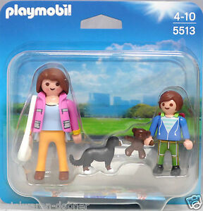 Playmobil-Blister-5513-Duo-Pack-Mama-Welpe-mit-Schulkind-Schultasche-Duopack-NEU