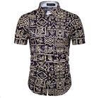 Luxury NewArrive fashion Floral Print Short Sleeve Mens Casual Male Dress Shirts