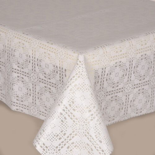 PVC TABLE CLOTH CROCHET WHITE LACE FLORAL SQUARES CIRCLES TRADITIONAL WIPE ABLE