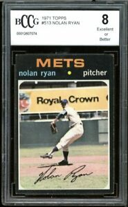 1971 Topps #513 Nolan Ryan Card BGS BCCG 8 Excellent+