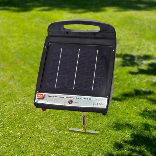 Weidezaungerät Mammut Solar 1100 6V inkl Solarpanel /& Akku 0,2 Joule 1600 Volt