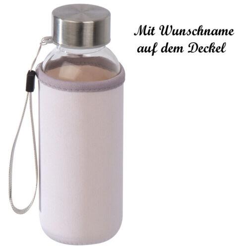 transparent Kunststoff Trinkflasche mit Namensgravur mit Neoprenüberzug 300ml