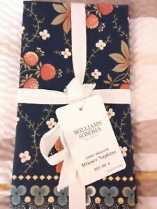 NWT-Williams-Sonoma-Berry-Meadow-Dinner-Napkins-Set-Of-4-Blue-39-95