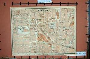 Original-Old-Antique-Print-Map-Britain-Street-Plan-Birmingham-Railway-Midland
