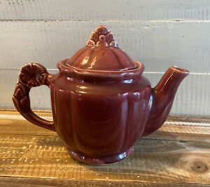 Vintage Shawnee Pottery Maroon Teapot with Lid Flower Handle USA