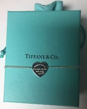 Tiffany & Co Silver Return To Heart Tag Bracelet Double Chain w/ Pouch, 6.5""