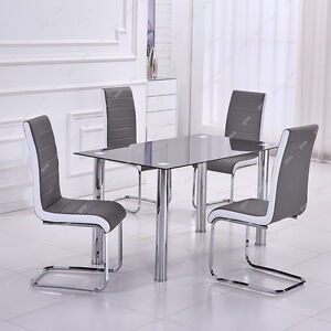 Modern Dining Room Furniture Black Glass Table 4 Chairs Grey White Sides Chro