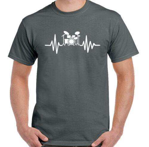 Drumming T-Shirt Drummer Drum Pulse Mens Funny Heart Beat Kit Set Cymbal Music