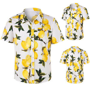 Men-039-s-Beach-Lemon-Print-Short-Sleeves-Shirts-Casual-Tops-Holiday-Tee-Size-M-2XL