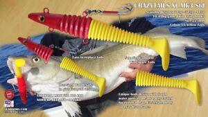 Crazytail-XL-Twin-Hooks-Norway-Iceland-Alaska-big-Cod-Halibut-UV-Yellow-Tails