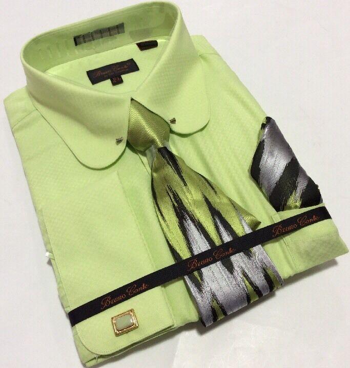 Men's Bruno Conte French Cuff GREEN Dress Shirt Tie Hankie Set Round Collar Bar