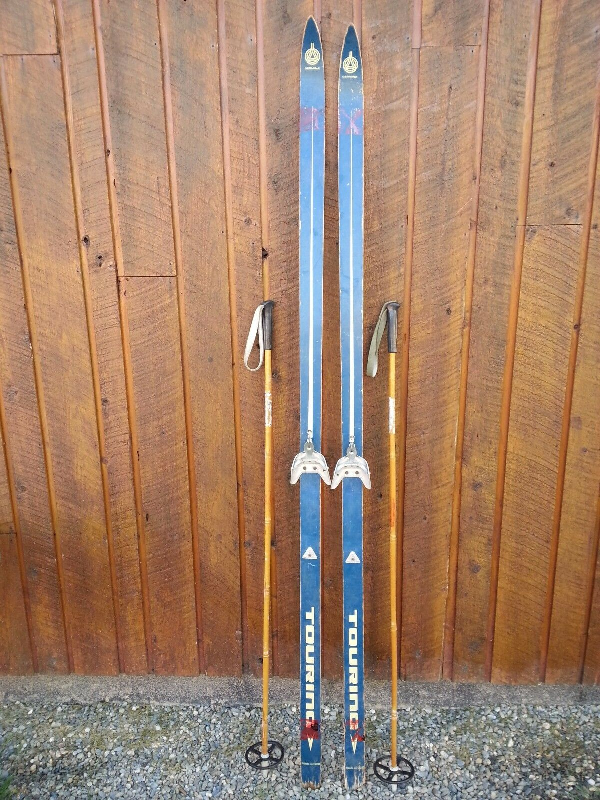 Vintage Wooden 79  Long Skis bluee and White Finish + Bamboo Poles