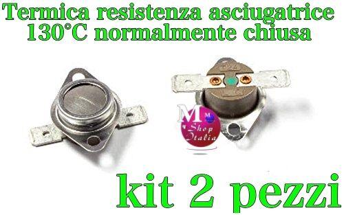 Kit 2 termostato termica resistenza asciugatrice Candy Hoover Indesit 130°C N.C.