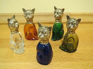 FUNNY-CURIOUS-SET-5-SALT-CELLARS-SILVERPLATE-AND-COLOURED-GLASS-CATS-MINT