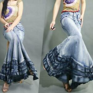 Women/'s Fishtail Gown Jeans Denim Ultra Maxi Long Skirts Retro Dress Slim S-XL