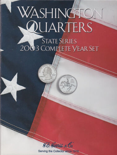 #H-2586 2003 COMPLETE YEAR STATEHOOD QUARTERS HARRIS COIN FOLDER P /& D