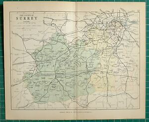 1882-SMALL-ANTIQUE-COUNTY-MAP-SURREY-GUILDFORD-LONDON-LAMBETH-SOUTHWARK