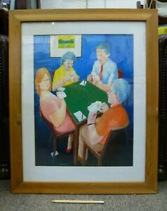 Framed-vintage-British-Gouache-Painting-Card-player-signed-Dagnall-Whist-Poker