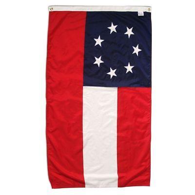 "3x5 FT CIVIL WAR 1ST NATIONAL 7 STAR FLAG /""Stars and Bars/"" CSA Banner"