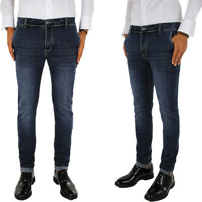 Vaqueros De Hombre Slim Fit Azul Negro Pantalones Casual Bolsillo América 44 46
