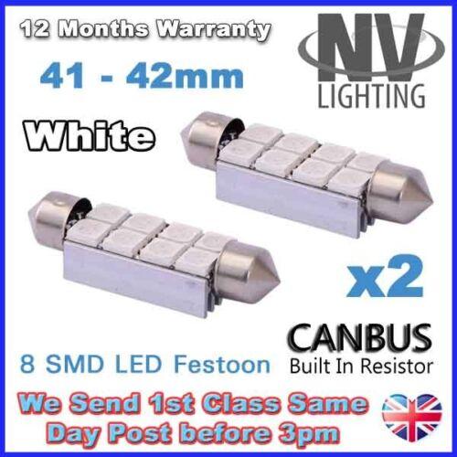 2PCS 8 SMD LED 42mm 264 CANBUS NO ERROR XENON WHITE INTERIOR LIGHT FESTOON BULB